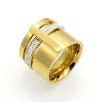 torres de aço inoxidável venda por atacado-TYME Hot estilo Aço Inoxidável amante anel de ouro sanhuan meio conjunto trado anel de aço titanium para homens e mulheres amantes anel
