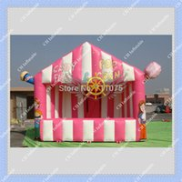 Wholesale Nice Inflatable Pink Booth for Pop Corn and Candy Floss Business Inflatable Stall Building DHL Free Blower