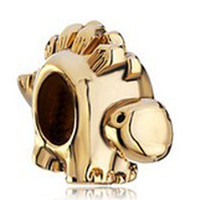 pulsera chapada en oro amarillo al por mayor-Vivid Animal Charm Rhodium Gold Color amarillo plateado Dinosaur Bead Antique Life Jewelry Fit Pulsera Pandora