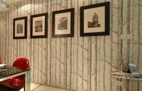 nuevo fondo de pantalla de árbol al por mayor-Nuevo diseño de abedul con diseño de madera no tejida rollo de papel tapiz de diseño moderno, papel pintado blanco y negro simple para sala