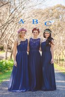 Wholesale Hot Classy Dresses - 2017 Hot Sale Bridesmaid Dresses Navy Blue Several Styles Classy Maid of Honor Dresses A Line Chiffon Scoop Pleated Custom Made Beach Summer