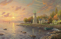 Wholesale Realistic Oil Painting - Free shipping,Thomas Kinkade,Marblehead Lighthouse,HOME WALL Decor Prints Realistic Oil Painting Printed On Canvas -1289