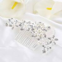 kristal düğün tarakları toptan satış-Toptan Satış - Toptan-1pc Yüksek Kalite Moda Gelin Düğün Çiçek Kristal Rhinestones İnciler Kadınlar Saç Klip Tarak, Saç Pin Aksesuar Takı