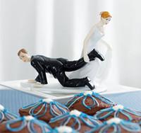 Wholesale Resin Craft Souvenir - The Bridal Dragging The Groom Wedding Cake Decoration Cupcake Toppers Resin Craft Souvenir New Wedding Favors Beautiful Wedding Cake Decor