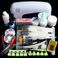 Wholesale Glue Kit Uv - Wholesale-Pro. Nail Art 3 colors UV Gel Tool Kits 9W White lamp(220V) Brush Remover nail glue tips acrylic set Free Shipping