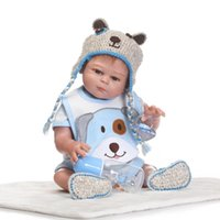 Wholesale Houses Inflatables - Wholesale- 55cm Full Body Silicone Reborn Boy Baby Doll Toys 22inch Newborn Princess Toddler Babies Dolls Bathe Toy Play House Toy Doll