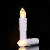 velas de cera sem chamas casamento venda por atacado-Plástico Branco Levou Cera de Controle Remoto Cintilante Flameless Lâmpada de Natal Luzes de Vela Casamento Casa Decoração de Natal Velas