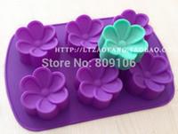 Wholesale Ship Silicone Cake Pan - Wholesale  free shipping,1 pcs Silicone 6 hole Plumeria rubra flower shape Cake Mould chocolate Baking Cupcake Pan ,