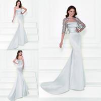 Wholesale Shawl White Satin Flowers - Silver Evening Dresses 2016 Tarik Ediz Mother of the Bride Dresses with Shawl Strapless Mermaid Beaded Vintage Wedding Prom Dresses