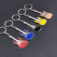 Wholesale Key Chain Guitar - 5 colors musical instrument keychain alloy guitar key chains key ring guitar pendants for bag fashion jewelry Promotion gift 240238