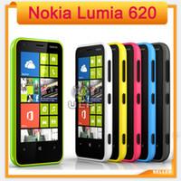 "Wholesale dual windows - 3.8"" Lumia 620 Nokia Unlocked 620 Windows Phone 8 Dual-core 1GHz ROM 8GB Camera 5MP Wifi GPS NFC Cellphone in Stock"