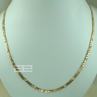 Wholesale 18k Solid Gold Figaro Chain - 18k gold filled curb rings Link Figaro womens solid necklace 45cm N201