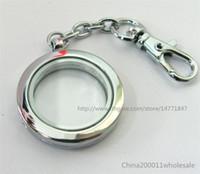 kayan cazibe anahtar zincirleri toptan satış-Ücretsiz kargo 5 adet Düz Yuvarlak Yaşam Yüzer Bellek Cam Madalyon Anahtarlık (hayır charms)