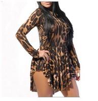 Wholesale Bodycon Mini Dress China - Womens Sexy Dresses Party Night Club Dress 2017 Leopard Bodycon Clubwear Women Pleated Vestidos Femininos Long Sleeve Cheap Clothes China