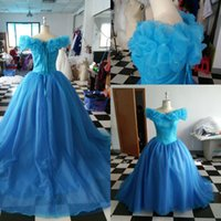 Wholesale Real Sexy Cosplay - New Elegant Backless Blue Cinderella Dresses Cosplay Costume Real Sample Long Train Party Gowns Princess Dresses Christmas Evening Gowns