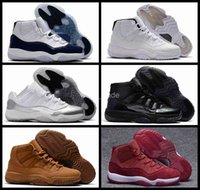 Wholesale red velvet ball - 2018 New Fashion 11 XI Men Basketball Shoes Black Red White Velvet Man 11s Sneakers Mens Basket ball Trainers Sports Shoes 8-13