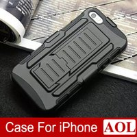 Wholesale Hybrid Iphone 5g - Black Future Armor Impact Holster Hybrid Hard Case Cover + Belt Clip Holster Kickstand Combo for iPhone 6   6 Plus 5s 5G