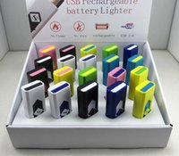 Wholesale Electronics Lighter - Electronic Flameless Windproof USB Style Rechargeable Battery Cigarette Cigar Lighter Random Color Best Gift Retail Package A016