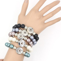 Wholesale Chunky Chain Link Bracelets - New Arrival 5 Colors 12mm Pearl Metal Button Bracelet for Women Fit Chunky Interchangeable Button Snap Jewelry Wholesale