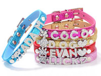 Wholesale Color Leather Dog Collars - Glitter Personalized Pet Dog Puppy Collar Buckle Customized DIY Name Free Letter