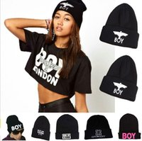 Wholesale London Boy Beanie - 2015 Winter Hat BOY LONDON Eagles Knitted Wool Cap Fashion Embroidered Black Warm Hat For Boy Girls' Beanies