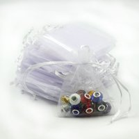 Wholesale Gift Bag Tulle Wedding - 7x9cm White Organza Jewelry Popular Gift Bags Cheap Wedding Gift Bag Tulle Favor Sack Customed Logo Printed 100pcs lot Wholesale