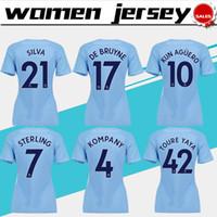 Wholesale Girls City Shorts - City Women home blue Soccer Jerseys 2017 18 Women #10 KUN AGUERO home blue Football Shirts 17 18 girls #33 G.JESUS Soccer shirt female