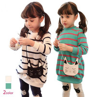 Wholesale Leggings Girl Month - Children Girl Fall Clothing Dress 2pcs Suit Cartoon Cat Stripe Sweatshirts Dress + Leggings Girl Sets Kids Dresses Set GX760 Free Shiping