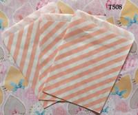 Wholesale Wholesale Glassine Bags - Wholesale 200PCS LOT Stripes Greaseproof Glassine Paper Bag For Wedding Party Food Baking Packaging Decoration GB25,12.5*17.5CM
