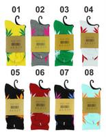 Wholesale Maples Leaves - 40colors Hot High Crew Socks Skateboard hiphop socks Leaf Maple Leaves Stockings Cotton Unisex Plantlife Socks