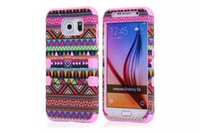 Wholesale Tribal Tribe Case - New 3 in 1 Hybrid Hard Soft Aztec Tribal Tribe Heavy Duty Cover Case For Samsung Galaxy S6 Cell Phone Cases 50pcs