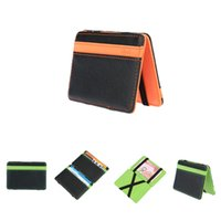 Wholesale Magic Purses - Korean Fashion Men Magic Wallets PU Cheap Wallets Magic Bag Male Pocket Purse Card Holders Money Clip for Men Orange Green 6 Color A316