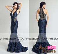 Wholesale Fashion Pastels - Real Image Vintage V Neck Long Mermaid Formal Evening Dresses Sheath Bodice Lace Crystal Beading Evening Gown Robe De Soiree LX235 In Stock