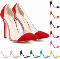 Wholesale Wedding Corsets Blue - Womens Flock High Heels Corset Pointed Toe Party Split Pumps Ladies Wedding Shoes 11 colors avalaible