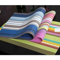 Wholesale Dining Table Pvc Cloth - Color Stripe PVC Placemats Environmental Anti-skid Insulation Dining Table Linen Mats Party Decoration for Sale SD729