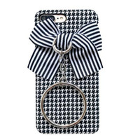 Wholesale iphone case 3d girl online - Phone Case for iPhoneX plus S plus Creative fashion D bows Houndstooth cell phone shell hard back cover for girls