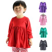 online shopping Mini Dress for Spring - Kids Summer Autumn winter long sleeve Tops,Solid Cotton Baby Girl Ruffled Dress,kids cotton tops for 1-6T,Children cotton top dress