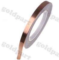 Wholesale Rolled Copper Foil - Wholesale-2 roll 4MM*30M Single Adhesive Conductive Copper Tape EMI Shielding Copper Foil Strip Stained Glass Work, Laptop