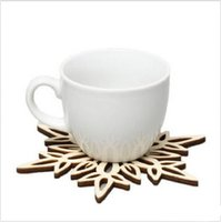 Wholesale Wooden Snowflakes - Wooden Snowflake Mug Coasters Holder Chic Drinks Coffee Tea Cup Mat Decor Mats 120pcs lot