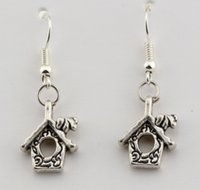 Wholesale 12 Mm Earrings Wholesale - Hot ! 15 pair Antique silver Single-sided House Charm Earrings With Fishhook Ear Wire 12 X 36 mm