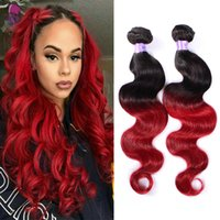 Wholesale Two Toned Hair Weave Styles - Ombre Colored Two Tone Weave 1B Burgundy Body Weave Hair Extensions Wave Style 3 Bundles Unprocessed Virgin Human Hair