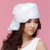 Wholesale Sexy Woman Hat Summer - New Sexy Derby Wedding Organza Hats Church Cloches Women's Fashion Headwear Hats Sunhat White Flower Accessory Girl's Amazing Cloches Hat