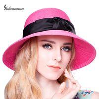 Wholesale Paper Straws Purple - Wholesale-Fashion Women Summer Beach Trilby Large Brim Sun Hat Paper Straw Women Cap With Bow Ribbon 14 Colors SW120017