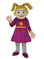 Wholesale Smiling Mascot - Smile girl in purple suit mascot costume adult size