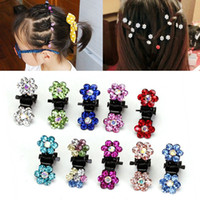 Wholesale Clear Claw Clip - Wholesale-New 60Pcs Flower Clear Crystal Diamate Wedding Bridal Prom Mini Hair Claw Clips Hairpins Styling Women Girls Hair Accessories