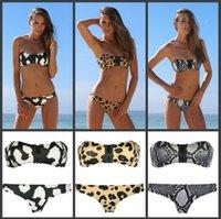 Wholesale Sexy Cow Suit - 2015 Newest Sexy Swimwear for Women With Zipper Chest Animal Print Snake Leopard Cow Bohemian Bikini Bandeau Bathing Suit Beachwear Hot 034