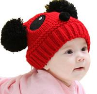 Wholesale Panda Knitted Hat - Unisex Infant Panda design Beanies Knitted Bobbles Hats Children Kids Autumn Winter Warm Caps For Boy Girls Kids MZ1019