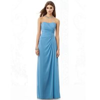 Wholesale Dresse Blue - Top Selling Bridesmaid Dress Strapless Floor Length Chiffon Prom Dresse WB2412