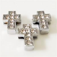 Wholesale Rhinestone Belt Cross - Hot!!20PCS Lot 8MM Cross DIY Slide Charms with Rhinestones Silvery DIY Components Fit for 8MM Wristbands Bracelets Belts SC10