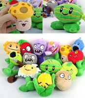 "Wholesale Plants Vs Zombie Figure Set - New 5"" Plants VS Zombies Soft Plush Toy With Sucker A full 1 set 14 pcs"